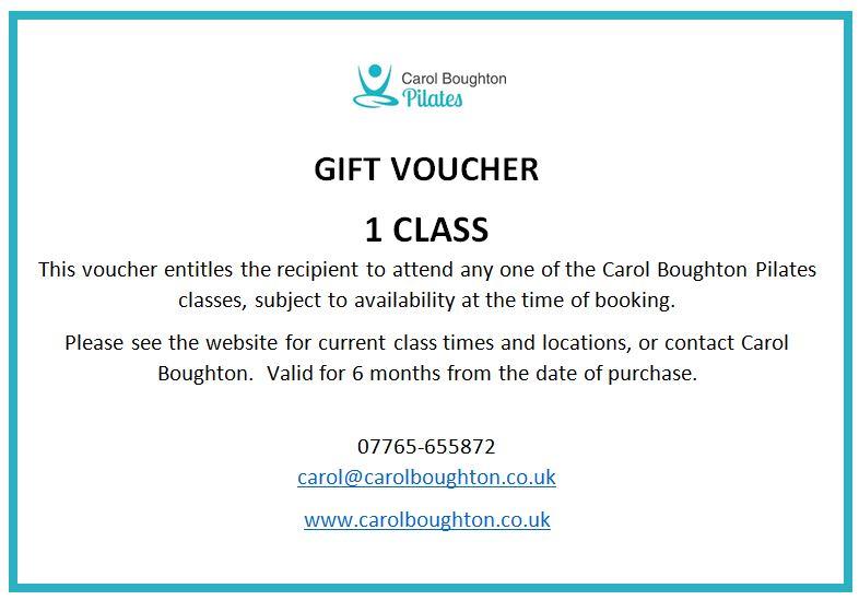 Pilates gift voucher 1 class