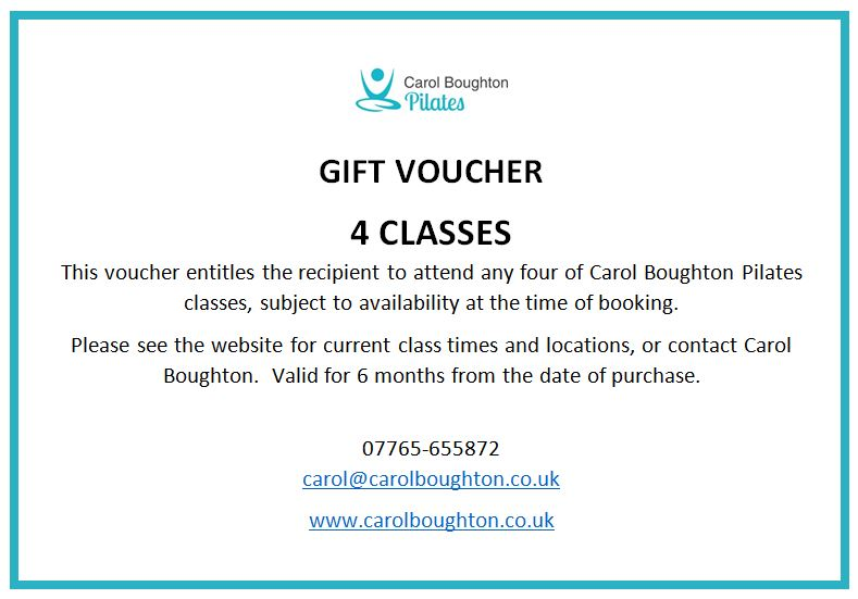 Gift voucher for 4 pilates classes