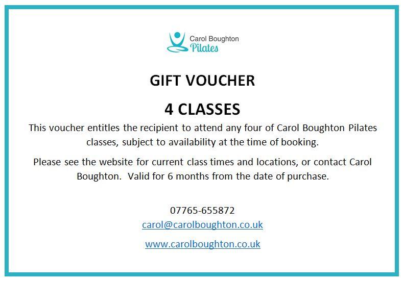 Gift voucher for 4 pilates classes